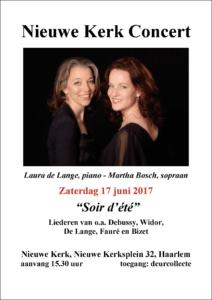 Poster Nieuwe Kerk Concert 17-6-17, Laura de Lange, piano - Martha Bosch, sopraan